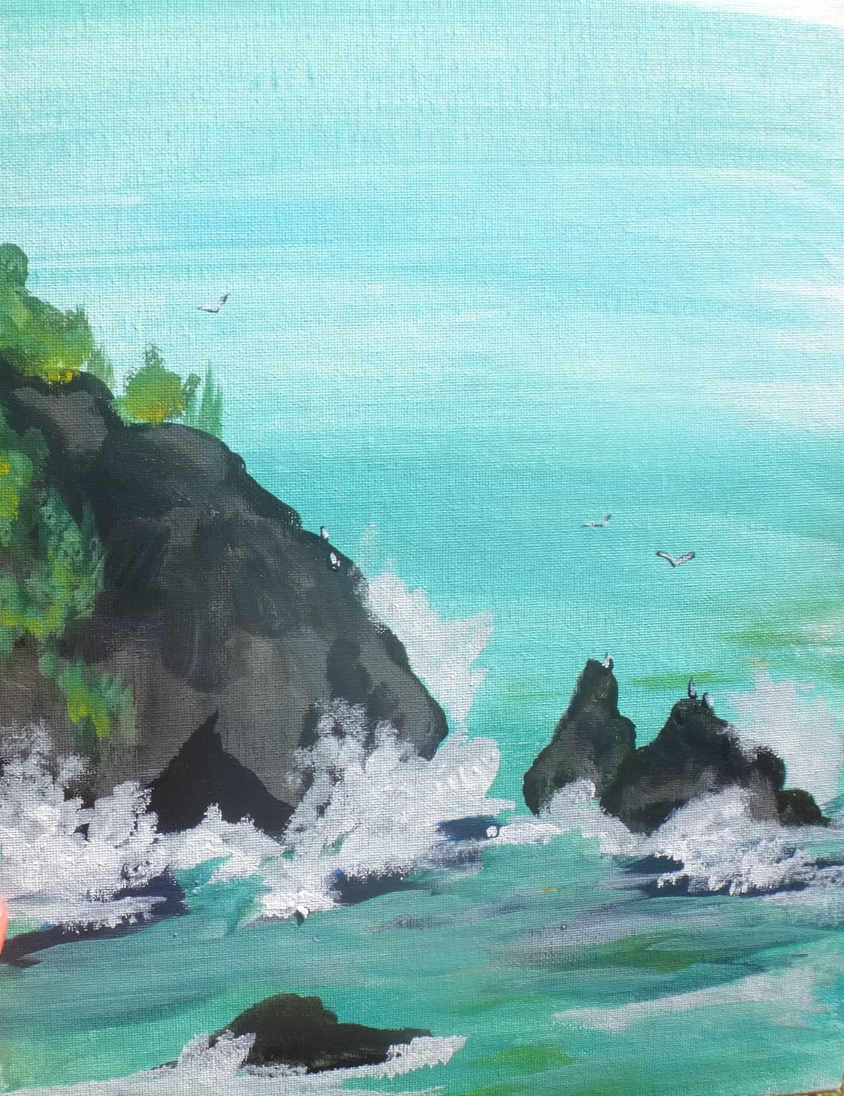 ocean beach waves paint and sip class