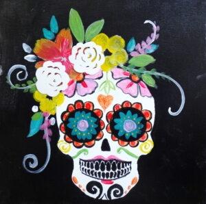 sugar skull tickets are paint painted skull art canvas
